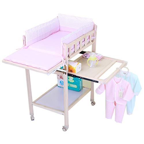 ZQ Wickelaufsatz Rosa Neugeborenes Baby Nursery Wickeltisch für Mädchen, großes hölzernes Kleinkind-Säuglingsaufbereiter-Station mit Rädern, Unterstützung 60kg