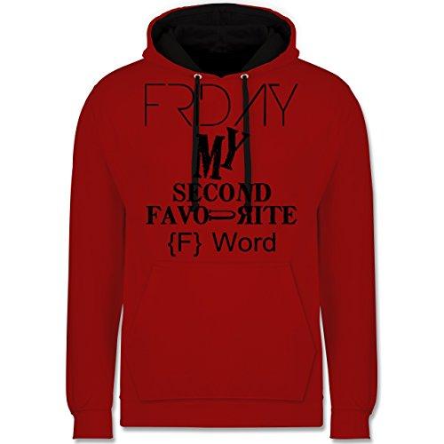 Statement Shirts - Friday - my second favourite F Word - Kontrast Hoodie Rot/Schwarz