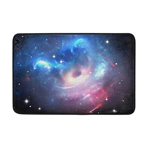 Universe Galaxy Space Stars Doormat Indoor/Outdoor Washable Garden Office Door Mat Kitchen Dining Living Hallway Bathroom Pet Entry Rugs with Non Slip Backing Area Rugs Purple rug