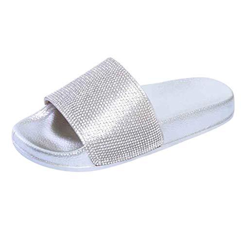 Hausschuhe Damen Freizeitschuhe Bunte Pailletten Slipper Frauen Flacher Schuhe Urlaub und Strand Schuhe Lässig Sandaletten Badeschuhe