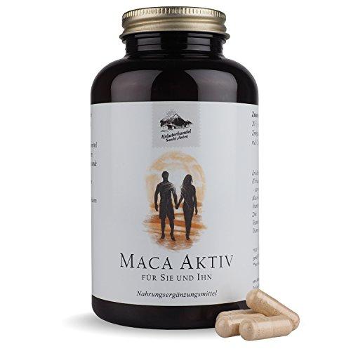 Maca Aktiv Kapseln • 500 mg Maca pro Portion • hochdosiert • mit Tribulus, Zink und Vitaminen • 180 Kapseln (3 Monatsvorrat) • Deutsche Premium Qualität • Kräuterhandel Sankt Anton