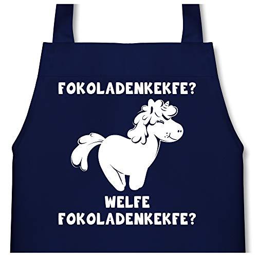 Shirtracer Kleine Köche & Bäcker - Fokoladenkekfe Einhorn - 60 cm x 50 cm (H x B) - Navy Blau - X978 - Kinder Kochschürze