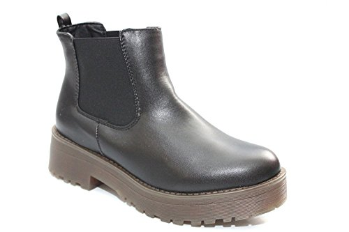 Womens Mesdames filles Chunky semelle gomme Chelsea Bottes Taille 3–8 Noir