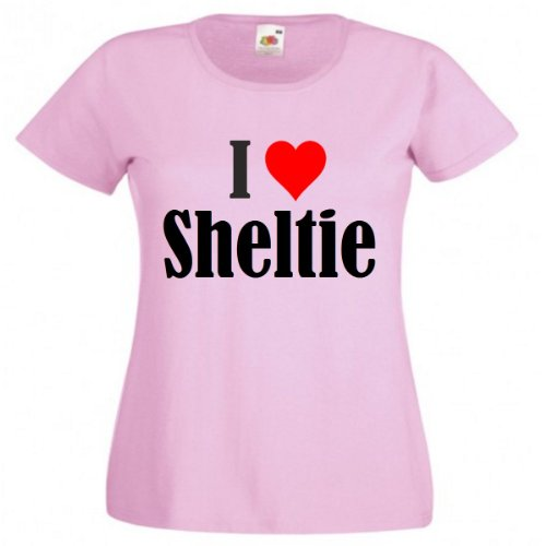 "T-Shirt ""I Love Sheltie"" für Damen Herren und Kinder in Pink Pink"