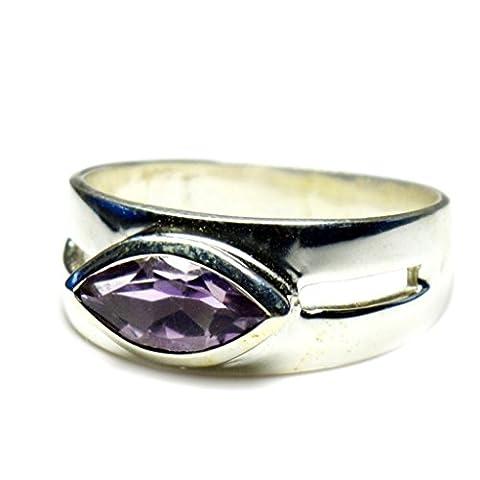 Jewelryonclick Naturel Améthyste véritable Bague en argent sterling Marquise Pierre précieuse Bague pour homme Taille UK H-z - 56 (17.8)