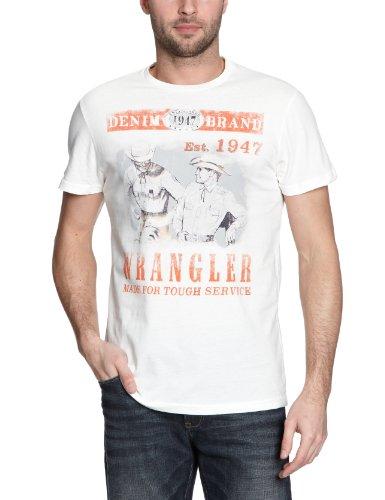 Wrangler Herren T-Shirt W7719FP02 Weiß (off white 02)