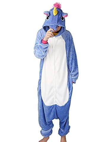 Einhorn Pyjamas Kostüm Jumpsuit Tier Schlafanzug Erwachsene Unisex Fasching Cosplay Karneval (X-Large, (Jumpsuit Kostüm)