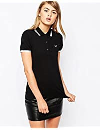 Fred Perry Twin Tipped Polo para mujer, color negro Talla:42