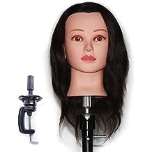Cabeza Maniquí 100% Pelo Natural Peluqueria practicas Formación Muñeca de la Cosmetología (con soporte) EHA0212P