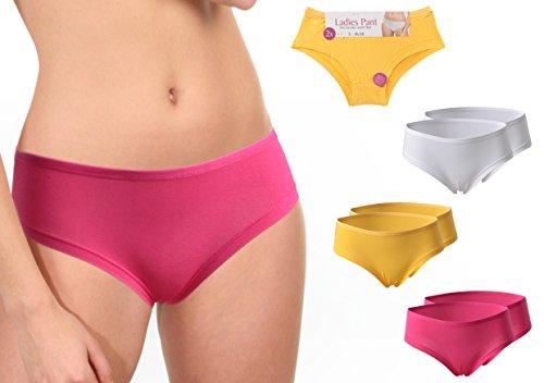 2 Stück sexy Pants Damenslips Hüftslip einfarbig pink gelb oder weiß Grössen 36/38 bis 48/50 lieferbar 2x pink