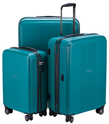HAUPTSTADTKOFFER - FHAIN 3er Koffer-Set Trolley Reisekoffer Hartschale matt - TSA Zahlenschloss (S, M, L), Petrol Blau