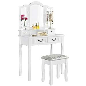 Toletta per trucco emma colore bianco con specchio e sgabello casa e cucina - Toletta con specchio ...