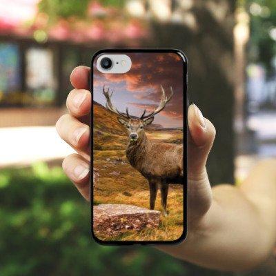 Apple iPhone SE Silikon Hülle Case Schutzhülle Hirsch Landschaft Wiese Hard Case schwarz