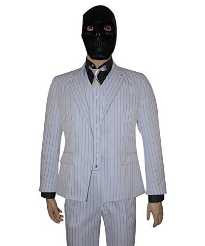 MingoTor Superheld Anzug Schwarze Maske Streifenanzug Cosplay Kostüm Herren (Schwarze Maske Arkham Origins Kostüm)