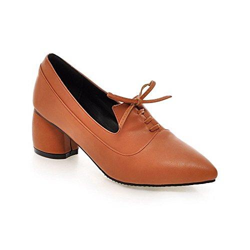 AgooLar Damen Mittler Absatz Weiches Material Rein Schnüren Spitz Zehe Pumps Schuhe Gelb