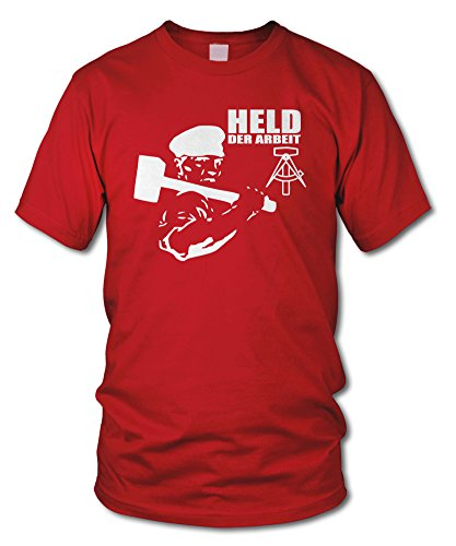 shirtloge - HELD DER ARBEIT - FUN T-Shirt - Retro DDR KULT - in verschiedenen Farben - Größe S - XXL Rot (Weiß)