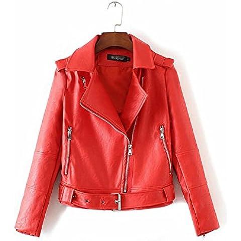 ZYQYJGF Sottile Pu Cappotto Corto Cintura Manica Lunga Cerniera Giacca Donna In Pelle Stampa Moto Punk Rock . Red . L