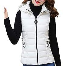Yudesun Cálido Abrigo Chalecos Chaqueta Mujer - Señoras Invierno Plumas  Relleno Ropa Abrigos Sin Mangas con a927623953f6