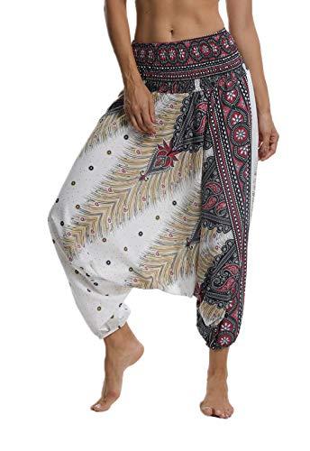 FITTOO Pantalon Yoga Femmes Sarouel Bohémien Harem Pants Imprimé Floral pour Danse Orientale, Blanc, Taille uniqu