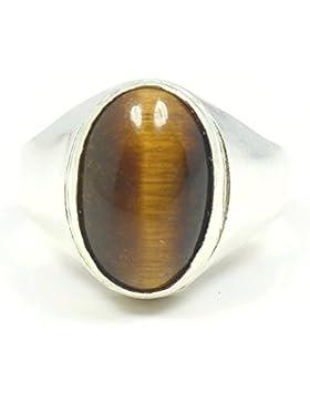 jewelryonclick Tiger Eye 6Karat Natürliche Original Edelstein 92,5Sterling Silber Bold Ring für Herren