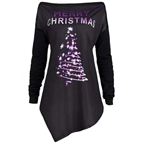 Resplend Pullover Weihnachten,Off Shoulder Sweatshirt Top Lange Ärmel Tuniken Oberteil Mode Unregelmäßiger Saum Pullover Langarm Schulterfreies Langärmliges T-Shirt