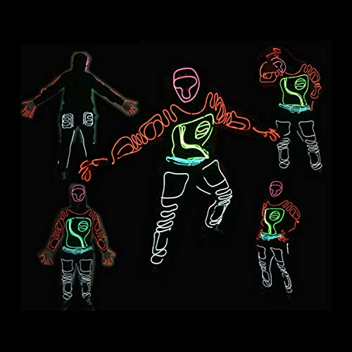 Neon EL Wire, Mode Neon kaltes Licht, Fluoreszierende Tanzshow Kostüm, mit Controller, für Xmas Party Pub Festival Dekoration, Tanzparty (Neon Wire Kostüm)