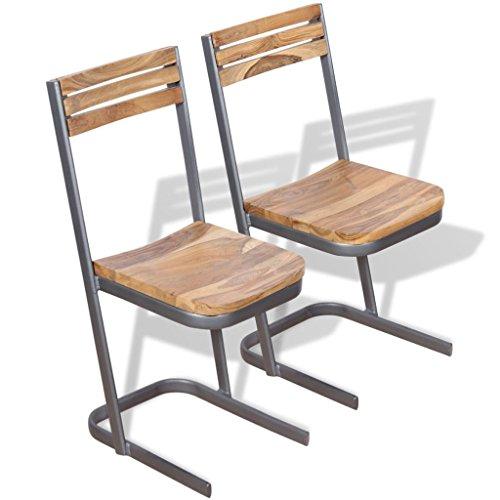 Lingjiushopping 2 pièces Chaises de salle à manger en bois de teck massif couleur : marron matériau : bois massif de teck + Fer