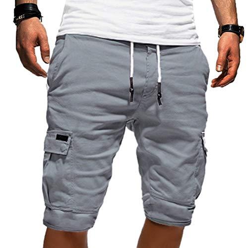 Onsoyours Herren Chino Shorts Bermuda Kurze Hose Freizeithose für Herren Vintage Cargo Short Mit Loser Passform Hellgrau X-Large