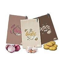 Green Grocer Set of 3 Vegetable Storage Bags | Cotton Kitchen Potato Onion Garlic Bag Keep Veg Fresh for Longer