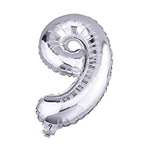 yl folienballon in zahlenform silberfarbig die nummer 9 10 32 k che haushalt. Black Bedroom Furniture Sets. Home Design Ideas