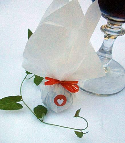 Die Seedball-Manufaktur Mandarine Seedball Gastgeschenk mit Herz Weißes Seidenpapier mit orangefarbener Basschleife 2,5 x 2,5 x 6 cm (Bezahlung Für Artikel In Den Warenkorb)