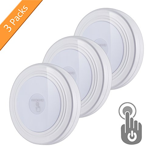 3 Stück Touch Nachtlicht, KWOKWEI LED Nachtlicht mit Touchsensor, Batterie Touch Lampe Licht Dimmbar, Schrankleuchte mit 3M Klebend für Schrank, Kleiderschrank