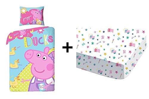 Peppa Pig–Juego de cama (3piezas)–Funda de edredón (140x 200) + funda de almohada (70x 80) + sábana bajera (90x 190)