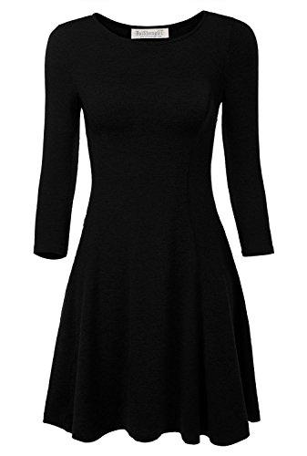 BAISHENGGT-Damen-Mini-Skaterkleid-Rundhals-34-Arm-Fattern-Stretch-Basic-Kleider