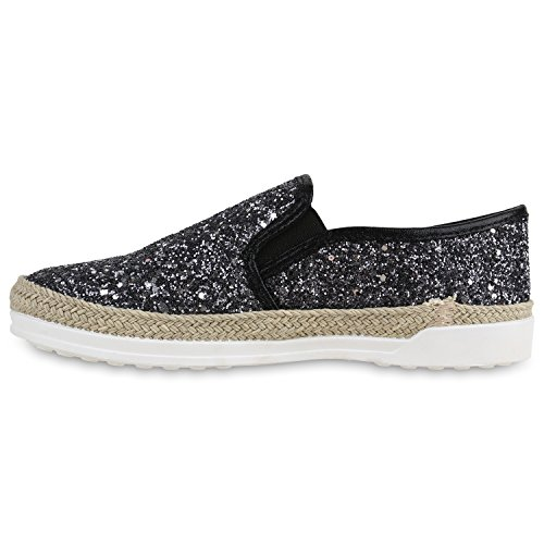Damen Sneakers Slipper Slip-ons Glitzer Skaterschuhe Flats Schwarz Glitzer Bast
