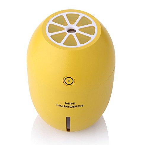 Flikool Tragbar Mini Zitrone Luftbefeuchter 180ml mit LED Nachtlicht Auto Luftbefeuchter Ultraschall Luftreiniger Cool Mist Diffusor - Gelb