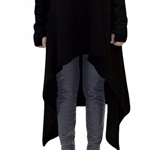Femmes Ourlet Irrégulier Manches Longues Robe Découpe Sur L'Épaule Hauts Chemisiers T-Shirt Noir
