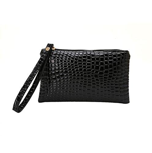 Dairyshop Cassa della cassa della borsa della moneta delle signore delle nuove borse di modo del coccodrillo di modo delle donne (Giallo) Nero