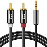 Beikell Câble RCA Jack Audio 2M, Stéréo Jack 3.5mm Mâle vers 2 RCA Mâle Y Auxiliaire Audio Câble pour Téléphone/iPhone/iPod/Amplificateur/Enceinte/HDTV/Cinéma Maison/vidéoprojecteur et etc.