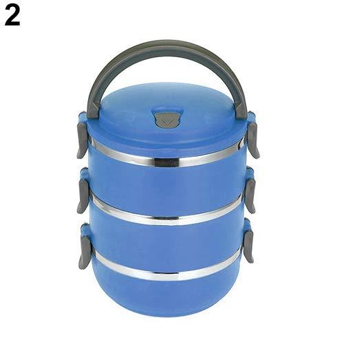 TLfyajJ Wärmeisolierte Multilayer Edelstahl Lunchbox Picknick Bento Mess Zinn, plastikfrei, BPA frei, auslaufsicher   Spülmaschinen- Und Mikrowellenfest Blau 4* (Planetbox-lunch-box)