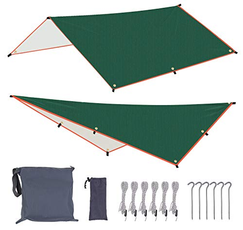 Hiwalker Incerata Impermeabile per Tenda Amaca 3x3m Esterno Campeggio Rifugio Spiaggia Parasole Tappetino Picnic Sopravvivenza Antistrappo Leggero & Compatto Facile da Installare Rainfly (verde, 3x3m)