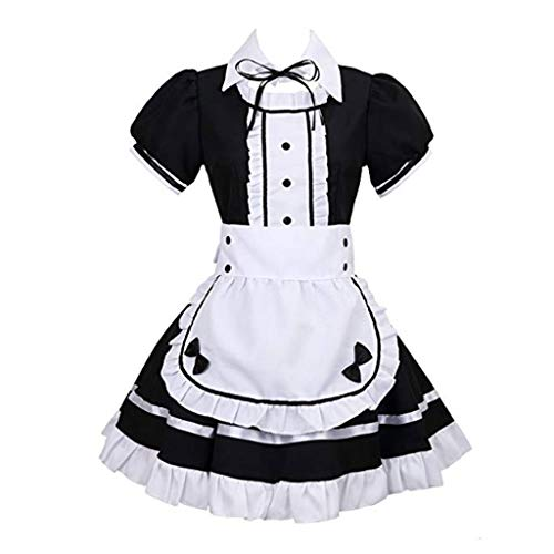 Lilongjiao Frauen Anime Cosplay Französisch Schürze Maid Kostüm Maid Kostüm Cosplay Maid Restaurant Maid Dress Up COS Anime Kostüm Black and White Maid (Color : Black, Size : XXXL)