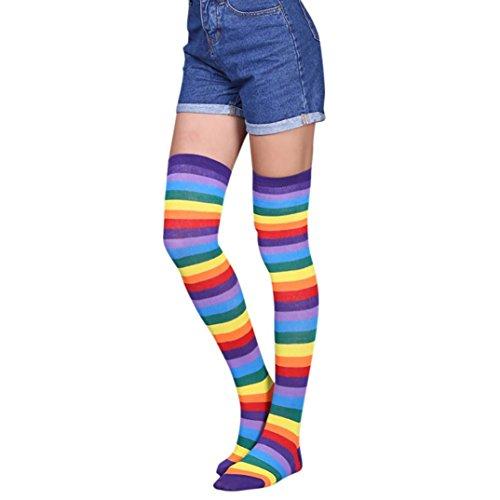 (Oyedens 1 Paar Damen Overknee Strümpfe Lange Kniestrümpfe Retro Schüler Überknie Strick Socken Streifen Kniestrümpfe (Regenbogen))