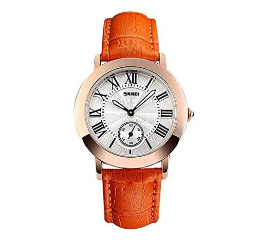 LANTA Home Vintage Novel Orange Leather Band Uhren für Frauen römischen Ziffern Business Casual Damenuhr