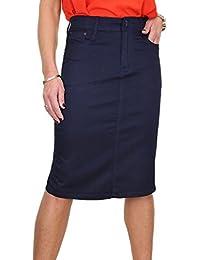 ICE (2516-6) de la falda de los pantalones vaqueros brillante de estilo extensible Chinos de gran tamaño Azul Pálido