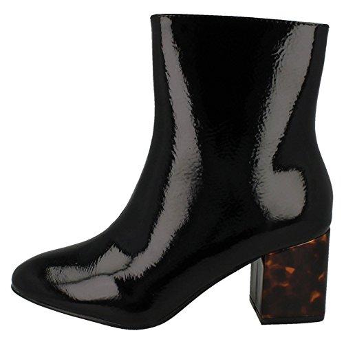 femme Compensées Spot On plissé Sandales noir Motif EOxwqwt4v