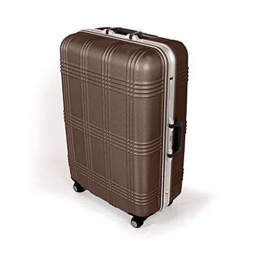 MasterGear Hartschalenkoffer mit Aluminium Rahmen in braun | Größe L: (75,5 x 51,5 x 29 cm / 80 Liter) | Koffer mit 4 Rollen (360 Grad) | Trolley,...