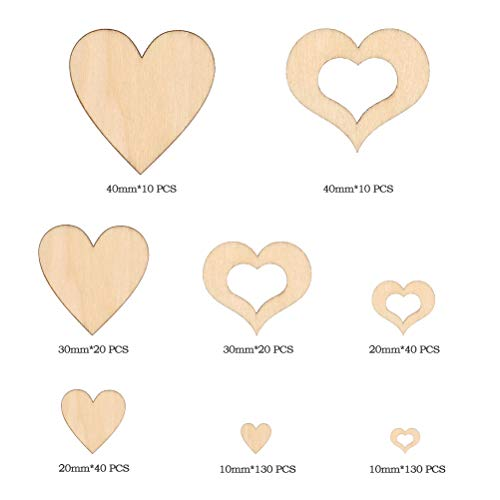 YANSHON 400Pcs Small Wooden Heart Embellishments for Wedding Home Decorations, Mini Wooden Heart Pieces Slice for Craft Making DIY - Natural Wood Slices Love Heart Shape 1cm 2cm 3cm 4cm