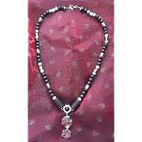 Statementkette Kunst Kette Glas Perlen Lava Silber Schmuck handgefertigt