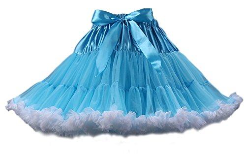 Honeystore Tanzkleid Ballettrock Kinder Mädchen Damen Tutu Rock Schleife Pettiskirt für Show Party Cosplay Blau und Weiß One Size (Schnelle Und Einfache Last Minute Kostüme)